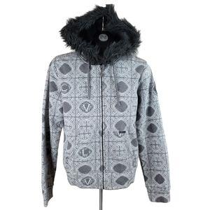 VOLCOM Hoodie Grey Zip Up Faux Fur